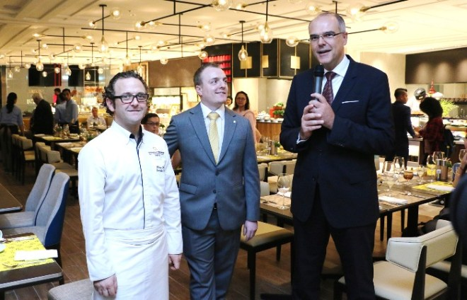 At the opening, from left, Executive Chef Olivier Pistre, Christopher Hough, Executive Assistant Manager - Food & Beverage and Manfred Weber, Area General Manager