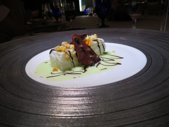 Perfect ending - Chocolate and Mint Floating Island with Caramelised Crispy Rice