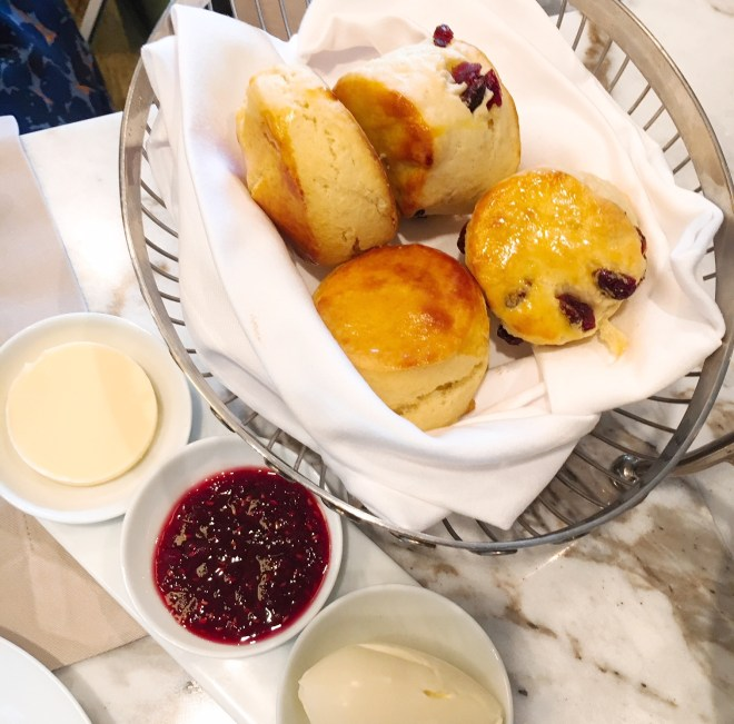 Lovely scones with clotted cream strawberry preserve
