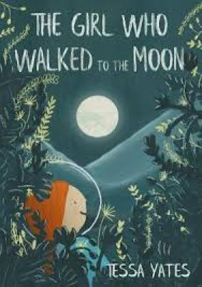 The Girl on who walked to the moon by Tessa Yates. A little girl with an astronaut costume standing between some trees and staring at the moon.