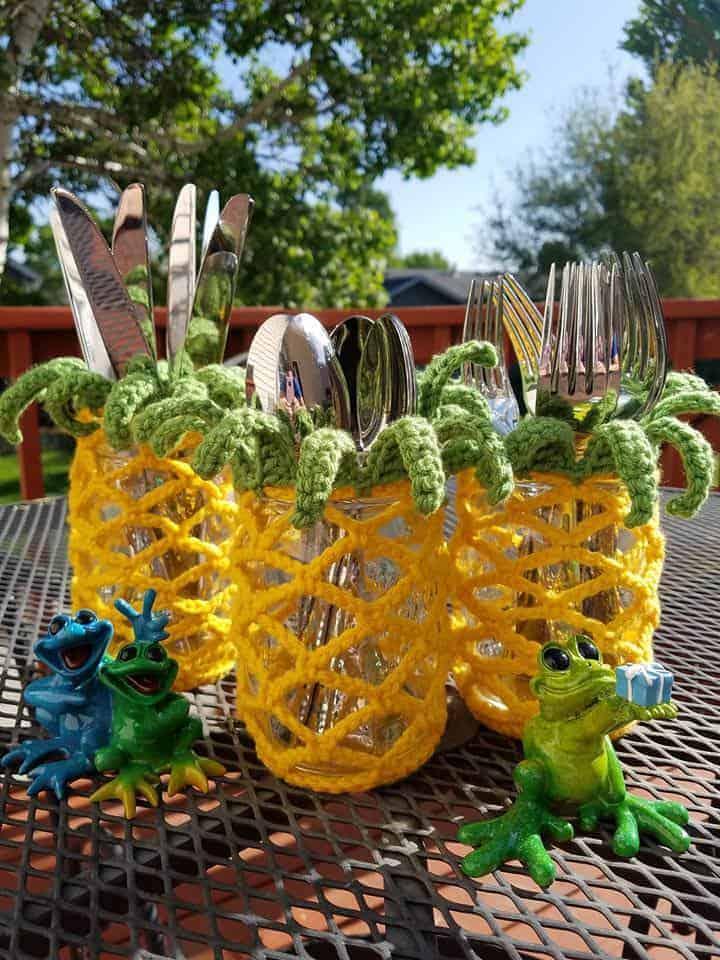 Pineapple Mason Jar Cover Free Crochet Pattern Hooked By Kati