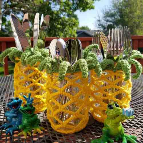 Pineapple Mason Jar Cover ~ Hooked By Katie