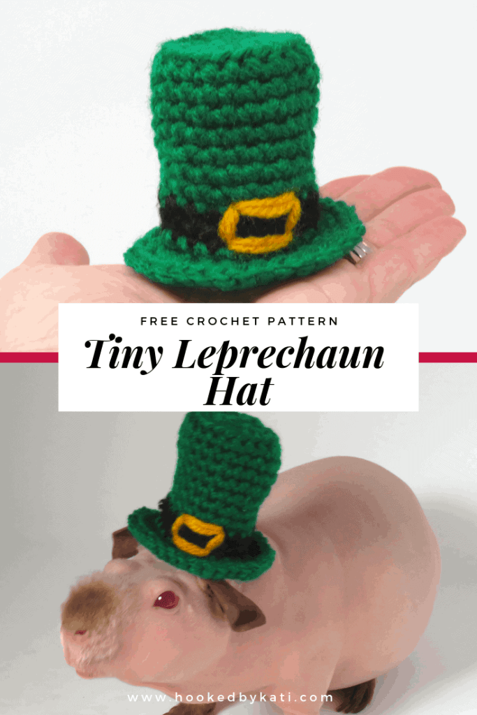 St. Patrick's Day Tiny Leprechaun Hat free crochet pattern, small enough to fit a guinea pig! | Hooked by Kati