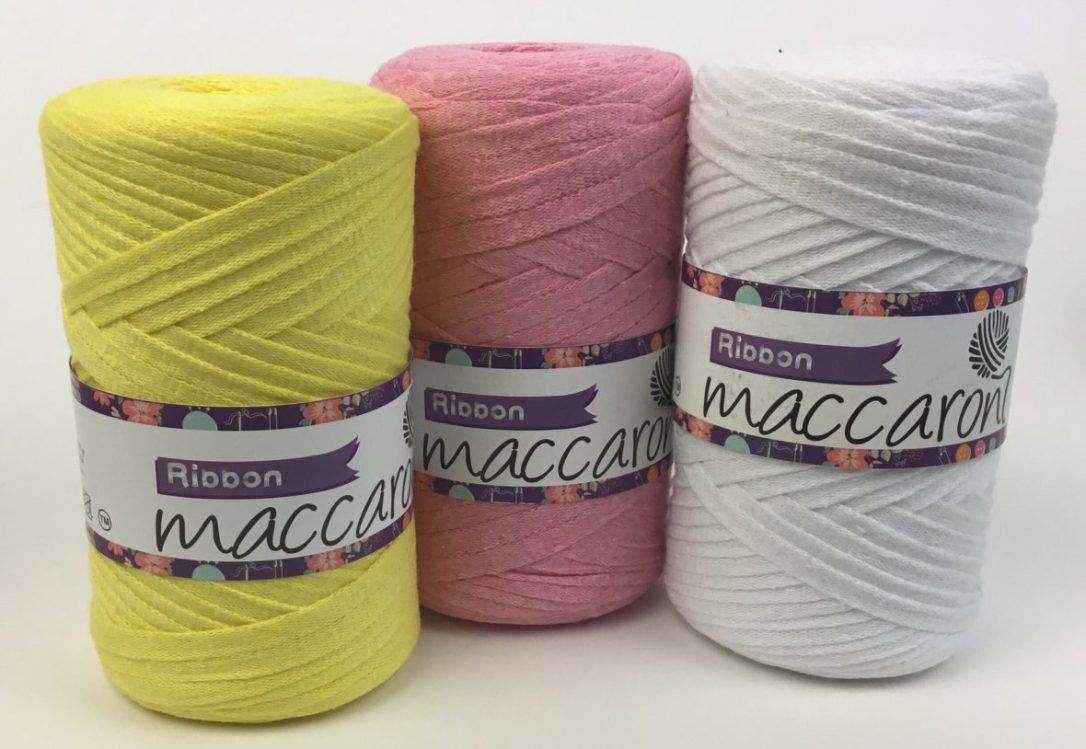 Pretty cotton ribbon yarns from Maccaroni Yarns and Hooked for Life!