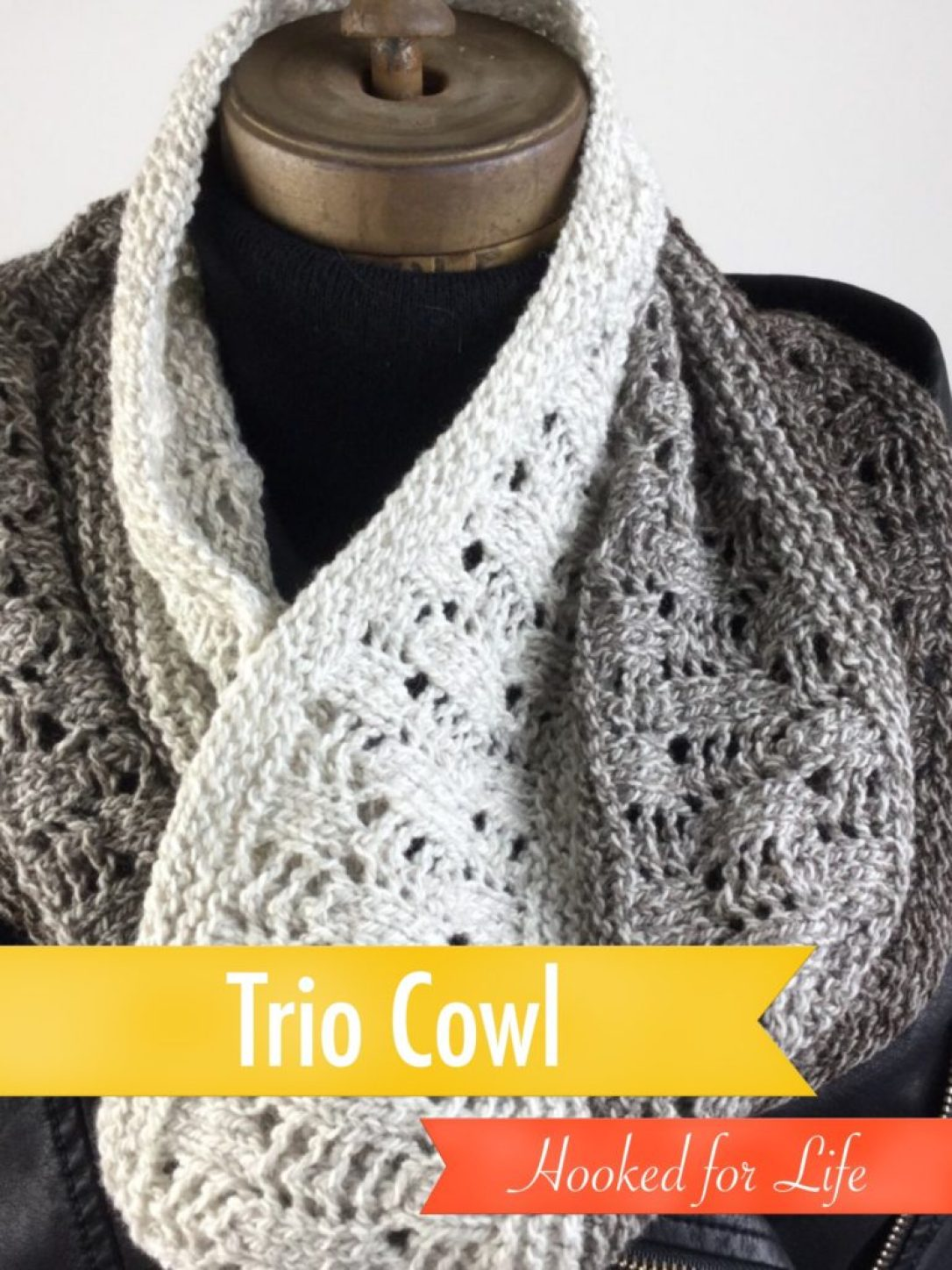 Free knit pattern for the Trio Cowl, in Mountain Meadow Wool. Knit in the round with a simple lace stitch.