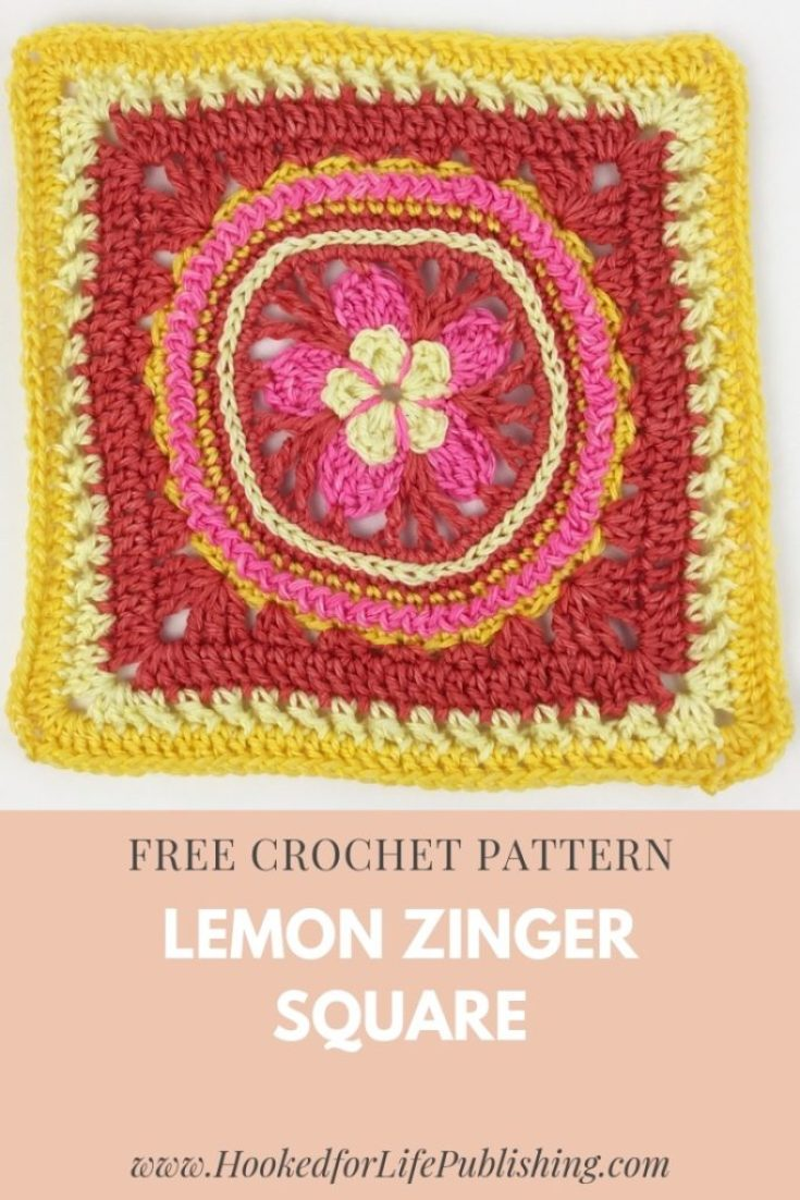Lemon Zinger Square free crochet pattern available at Hooked for Life Publishing. Worked in four colors of either DK or worsted weight. Video tutorials provided for the surface crochet techniques. #crochet #freepattern