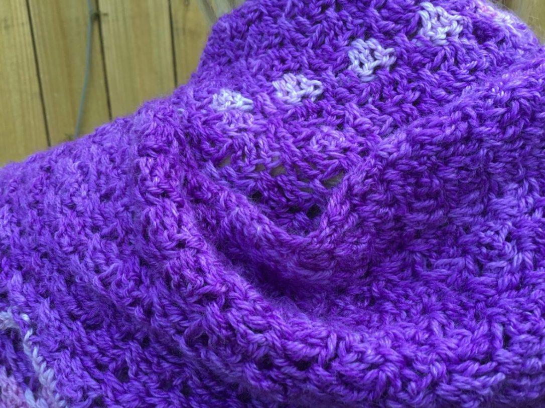 Free crochet pattern Telegraph Shawl on HookedforLifePubishing.com, Anzula Haiku yarn