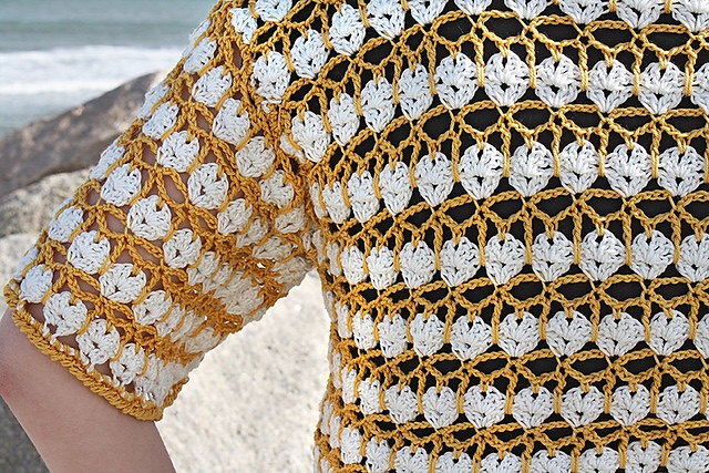 Garden Party Cardi crochet lace top pattern from Hooked for Life Publishing