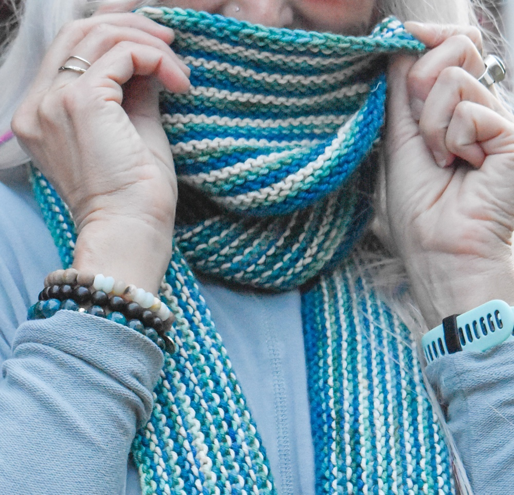 Free Knit Pattern Easy Fringed Striped Scarf