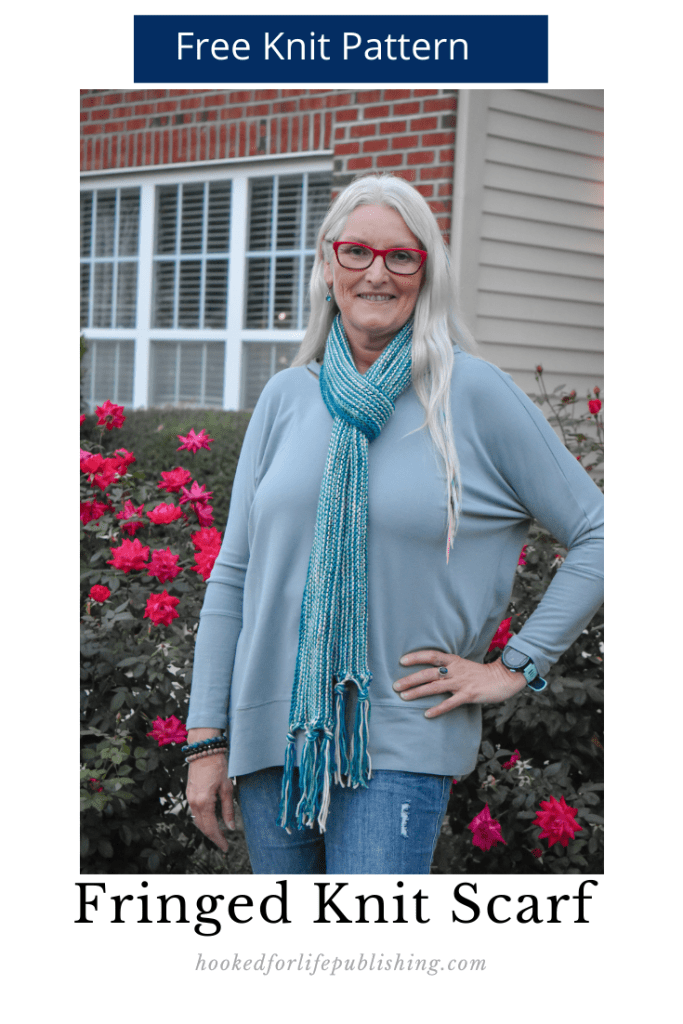 Free Knit Pattern, Easy  to Knit Striped Scarf, Self-Fringed from Hooked for Life Publishing