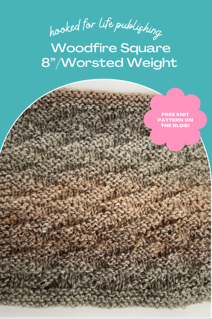 """Woodfire 8"""" Blanket Square to Knit. Free pattern on the Hooked for Life blog. Made in King Cole Acorn Aran yarn."""