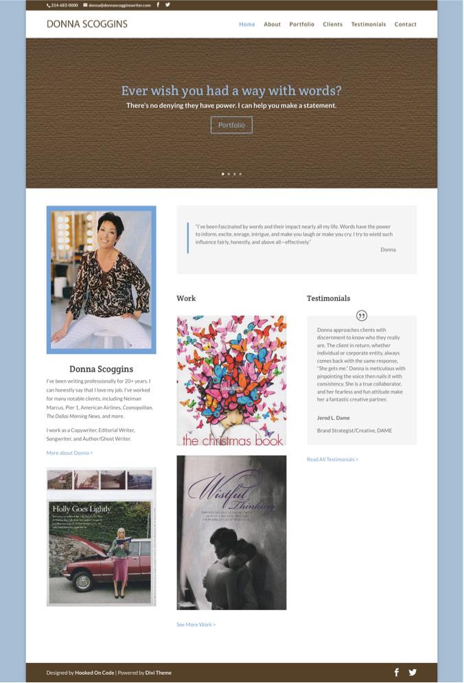 Donna Scoggins - Responsive WordPress Website Redesign Homepage