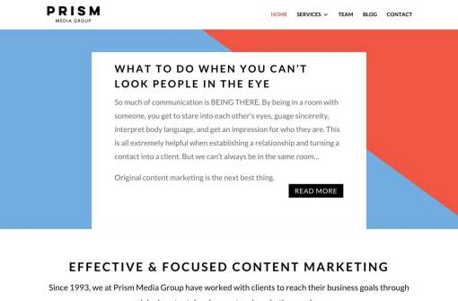 Prism Media Group | Content Marketing Agency Website Redesign