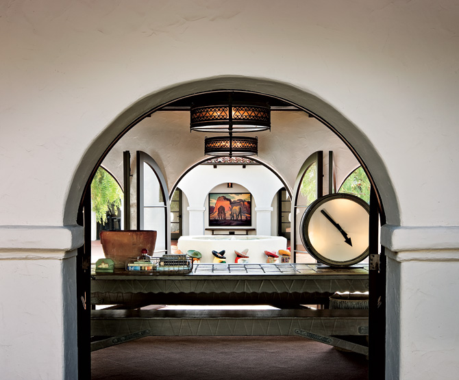 Spanish Style Homes Colonial Interior Design Ideas Archway Patio With Unique Accessories Large Clock