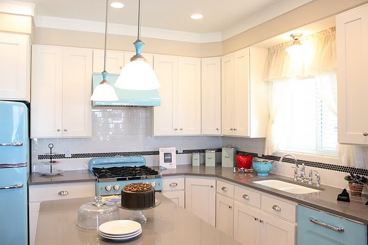 Retro Blue And White Kitchen At The Up House Hooked On