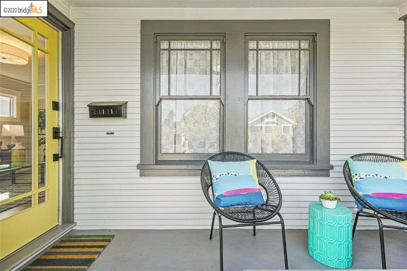 Bungalow Porch with Yellow Front Door