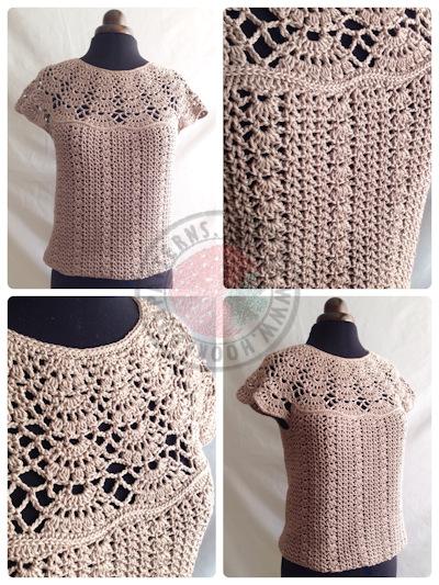 Bellissa Tucked Hem Top Crochet Pattern