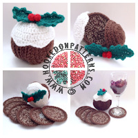 Christmas crochet patterns - Christmas Pudding Coaster Pattern