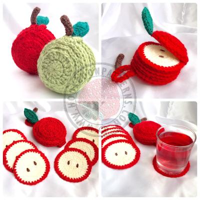 Apple Coaster Crochet Pattern – Sliced Set
