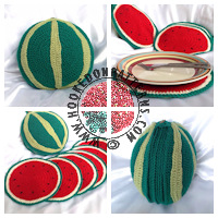 Crochet patterns for home - Sliced Watermelon Placemat Pattern