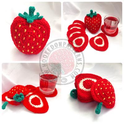 Strawberry coasters crochet pattern