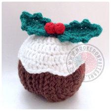 Christmas pudding crochet pattern coasters