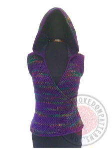 Kiko Cross Front Hooded Vest Crochet Pattern