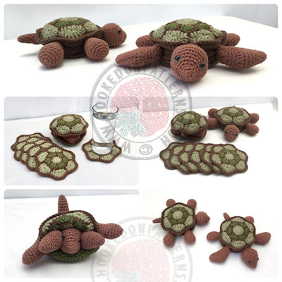 Tortoise Turtle Coaster Set Crochet Pattern