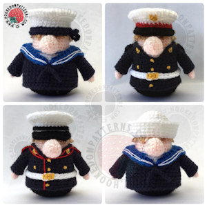 Gonk Heroes crochet pattern - How to crochet a marine uniform
