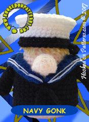 Marine Gonk Crochet Pattern Card 2