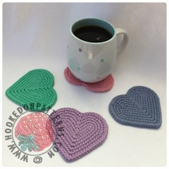 4 Heart Crochet Coasters; Pink, Purple, BLue and Green