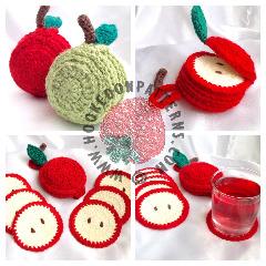 Apple Coaster Set Crochet Pattern