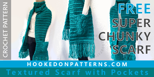 Free Crochet Scarf Pattern Super Chunky Hooked On Patterns