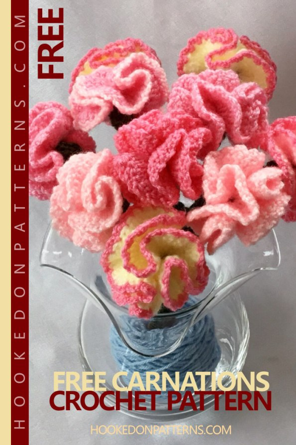 Celebrate Mother's Day, or any occasion, with this free crochet flowers pattern for Carnations. Carnations are the traditional flower for Mother's Day in many countries around the world. These simple yet beautiful flowers can also brighten up a room for any occasion, and could even make a gorgeous wedding bouquet!  #mothersday #crochet #freecrochetpatterns