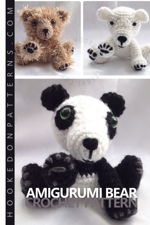 Amigurumi Bear Crochet Pattern for Panda bears, Polar bears, or Grizzly bears. Create different teddy bears using just one pattern.