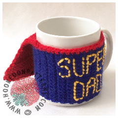 Father's Day Crochet Gift Free Super Dad Mug Cozy Coasters Pattern - Candy Swirl Coasters