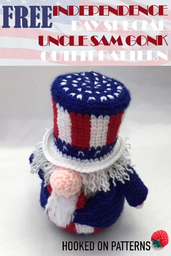 Independence Day Crochet Pattern Uncle Sam Gonk Outfit Pin