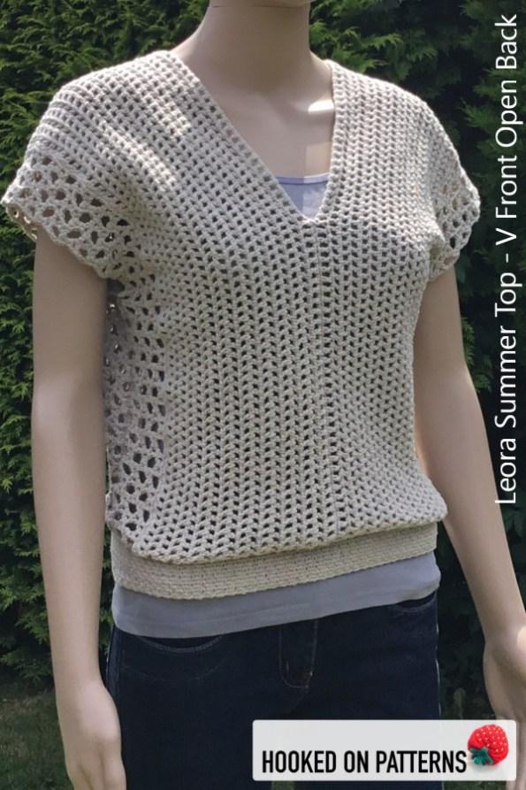 Leora Summer Top Crochet Pattern - Multiple Style Options - V Front Open Back #CrochetPattern #CrochetToWear #Crochet