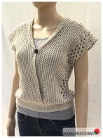 Crochet Sleeveless Top Leora Summer Top Folded Buttoned Front View