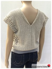 Crochet Sleeveless Top Leora Summer Top Open Front Folded Back View