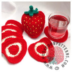 Strawberry Coaster Set Crochet Pattern FeatAd 240