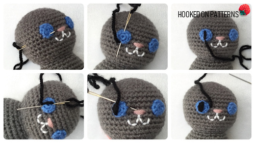 How to Add Faces to Amigurumi: Crochet Eyes and Eyelids | Squirrel ... | 281x500
