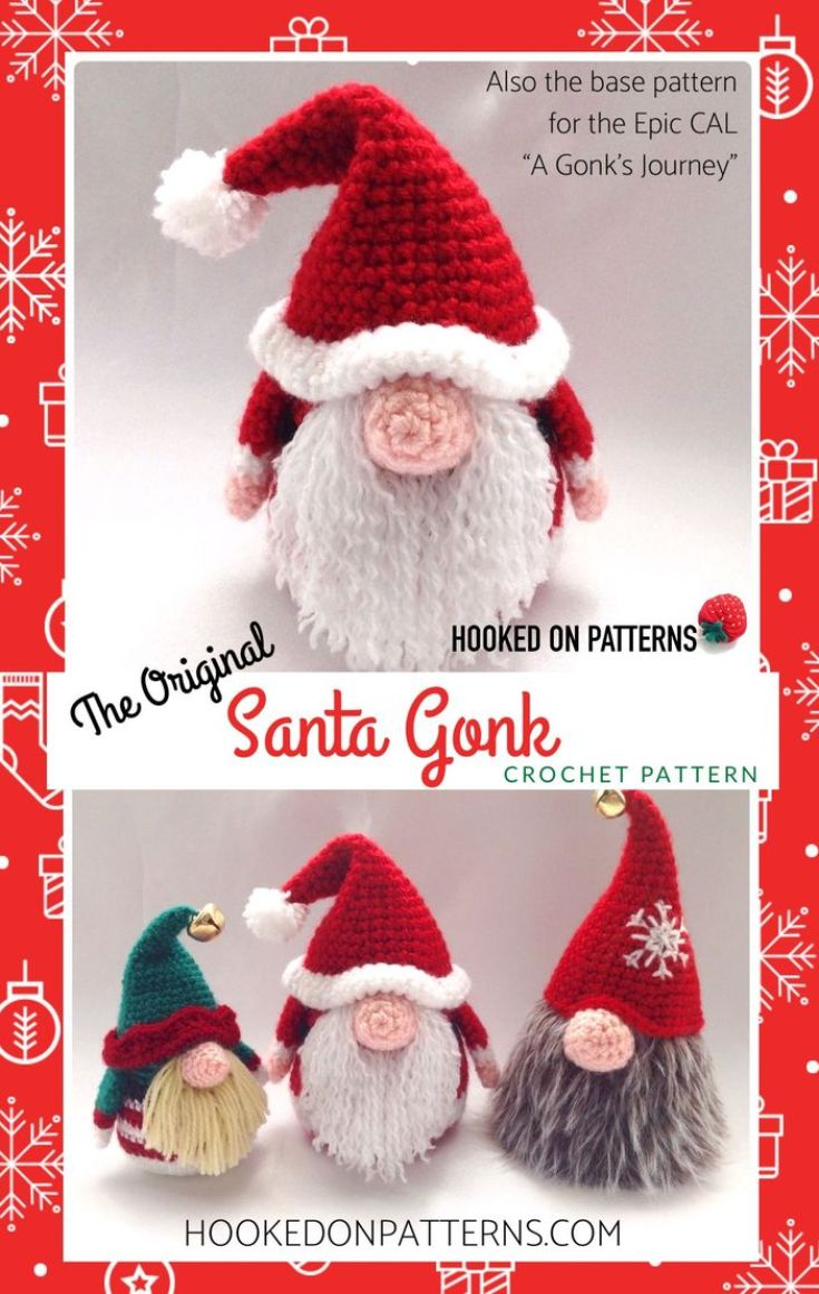 Santa Gonk Crochet Pattern - Christmas Doll Decorations