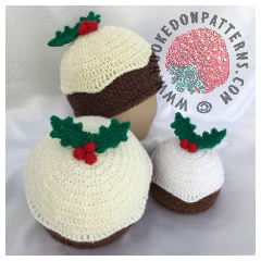 Crochet Christmas Pudding Beanie Hat Pattern