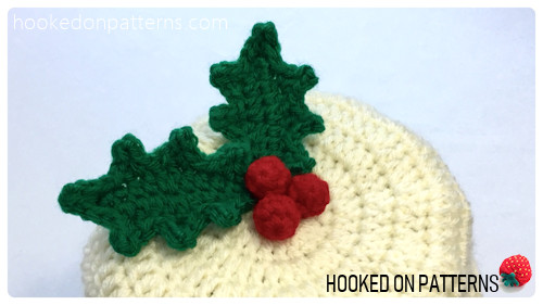 Free Crochet Christmas Pudding Beanie Hat Pattern Holly Berries