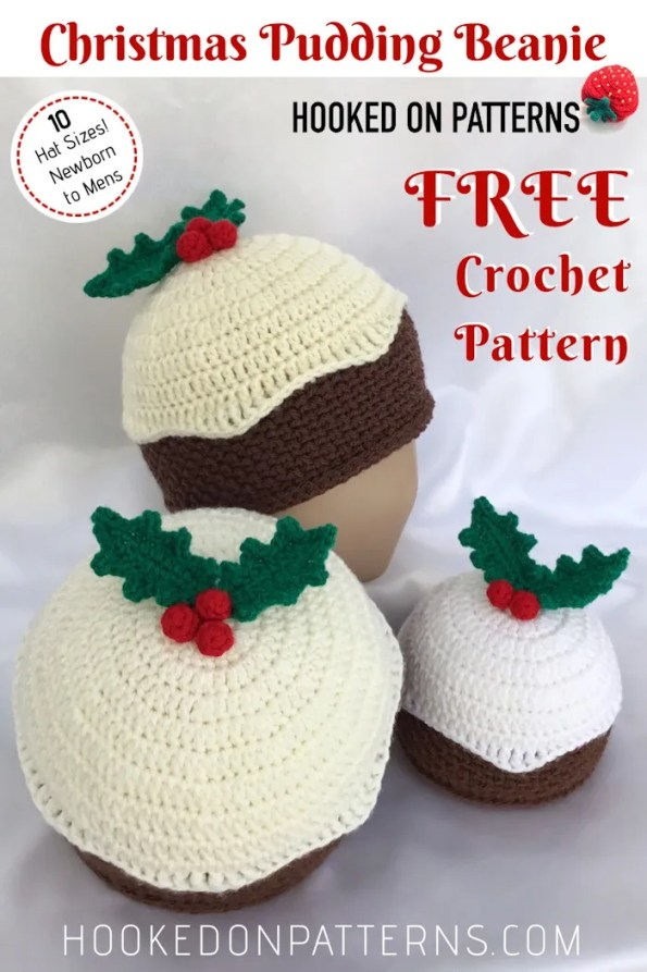 Free Crochet Christmas Pudding Beanie Hat Pattern Pin
