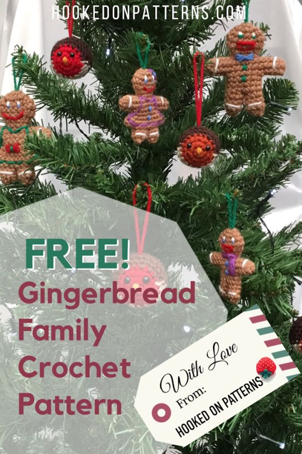 Crocheted gingerbread family hanging on a Christmas tree
