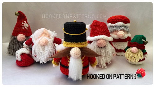 A collection of Christmas themed Gonks. Crocheted Amigurumi display figures for Christmas decorations.