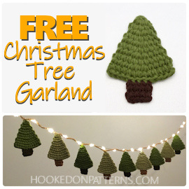 "An image of a crocheted Christmas tree ornament and tree garland with fairy lights. Text overlay ""FREE Christmas Tree Garland"" and hookedonpatterns.com"