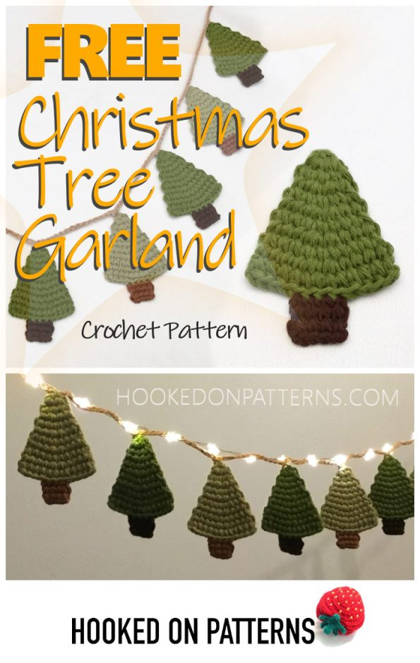 "A Pinterest graphic showing a crocheted mini Christmas tree garland, a single crochet Christmas tree, and the garland with Christmas fairy lights. With text overlay ""FREE Christmas Tree Garland crochet pattern"", hookedonpatterns.com, and the Hooked On Patterns Logo."